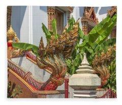 Wat Dokmai Phra Ubosot Stair Naga Dthb1783 Fleece Blanket