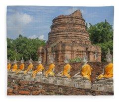 Wat Phra Chao Phya-thai Buddha Images And Ruined Chedi Dtha005 Fleece Blanket