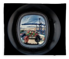 Watching A Container Ship Being Loaded Fleece Blanket