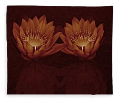 Water Lilies In Deep Sepia Fleece Blanket