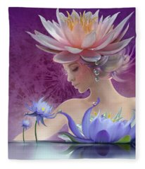 Water Of Life - In Violet Fleece Blanket