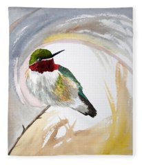 Watercolor - Broad-tailed Hummingbird Fleece Blanket
