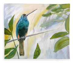 Watercolor - Jacamar In The Rainforest Fleece Blanket