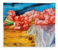 Watercolor Exercise Gladiolas Fleece Blanket
