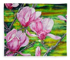 Watercolor Exercise Magnolias Fleece Blanket