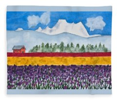 Watercolor Painting Landscape Of Skagit Valley Tulip Fields Art Fleece Blanket