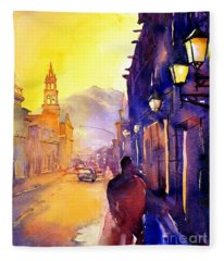 Watercolor Painting Of Street And Church Morelia Mexico Fleece Blanket
