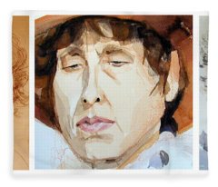 Watercolor Sketch Portraits Of A Woman In Thoughts Fleece Blanket