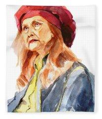 Watercolor Portrait Of An Old Lady Fleece Blanket