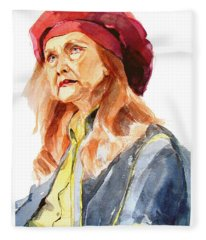 Watercolor Portrait Of An Old Lady Fleece Blanket