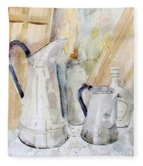 Watercolor Still Life Of White Cans Fleece Blanket