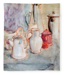 Watercolor Still Life With Red Can Fleece Blanket