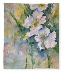 Watercolor Wild Flowers Fleece Blanket