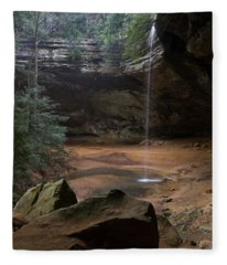 Waterfall At Ash Cave Fleece Blanket