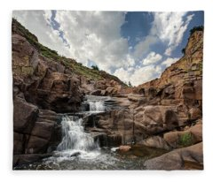 Waterfall At Forty Foot Hole In The Wichita Mountains Fleece Blanket