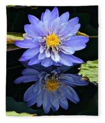 Waterlily And Reflection Fleece Blanket