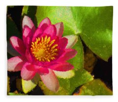 Waterlily Impression In Fuchsia And Pink Fleece Blanket