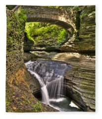 Watkins Glen Waterfalls Fleece Blanket