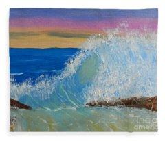 Wave At Sunrise Fleece Blanket
