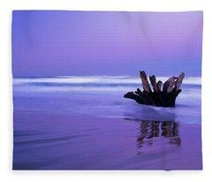 Waves Break On The Beach At Dawn Fleece Blanket
