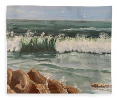 Waves Crashing Fleece Blanket