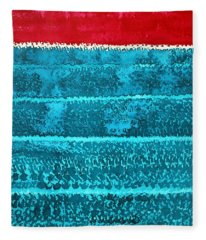 Waves Original Painting Fleece Blanket