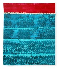 Waves Original Painting Fleece Blanket