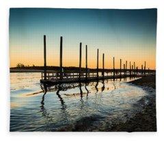 Wavy Sunset Kings Park New York Fleece Blanket