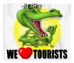 We Love Tourists Gator Fleece Blanket