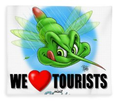 We Love Tourists Mosquito Fleece Blanket