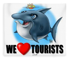 We Love Tourists Shark Fleece Blanket