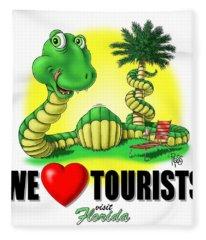 We Love Tourists Snake Fleece Blanket