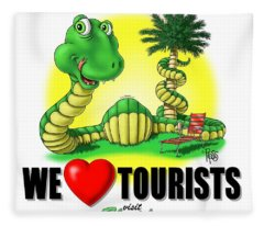 We Love Tourists Snake Fleece Blanket