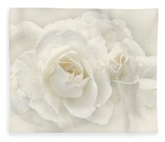 Wedding Day White Roses Fleece Blanket