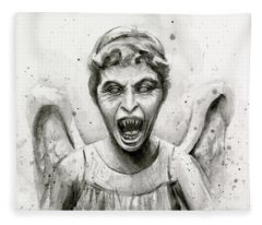 Weeping Angel Watercolor - Don't Blink Fleece Blanket