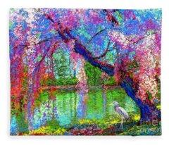 Weeping Beauty, Cherry Blossom Tree And Heron Fleece Blanket