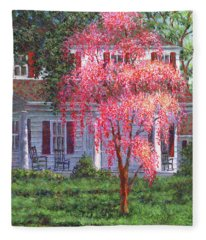 Weeping Cherry By The Veranda Fleece Blanket