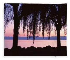 Weeping Willows, Lake Geneva, St Fleece Blanket