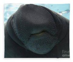 West Indian Manatee Smile Fleece Blanket