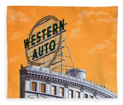 Western Auto Sign Artistic Sky Fleece Blanket