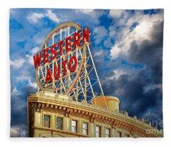Western Auto Sign Downtown Kansas City Fleece Blanket