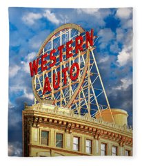 Western Auto Sign Downtown Kansas City Fleece Blanket