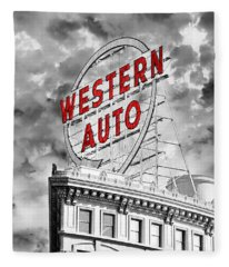 Western Auto Sign Downtown Kansas City B W Fleece Blanket
