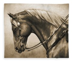 Western Horse Painting In Sepia Fleece Blanket
