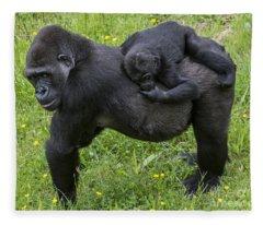 Western Lowland Gorilla 2 Fleece Blanket