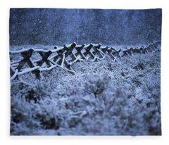 Western Style Ranch Fence Seen In Snow Fleece Blanket