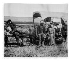 Westward Family In Covered Wagon C. 1886 Fleece Blanket