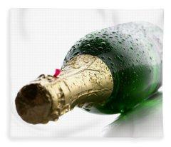 Wet Champagne Bottle Fleece Blanket