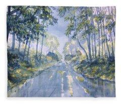Wet Road In Woldgate Fleece Blanket