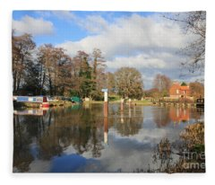 Wey Canal Surrey England Uk Fleece Blanket
